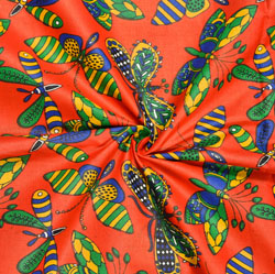 Red Green Butterfly Cotton Kalamkari Fabric-28012