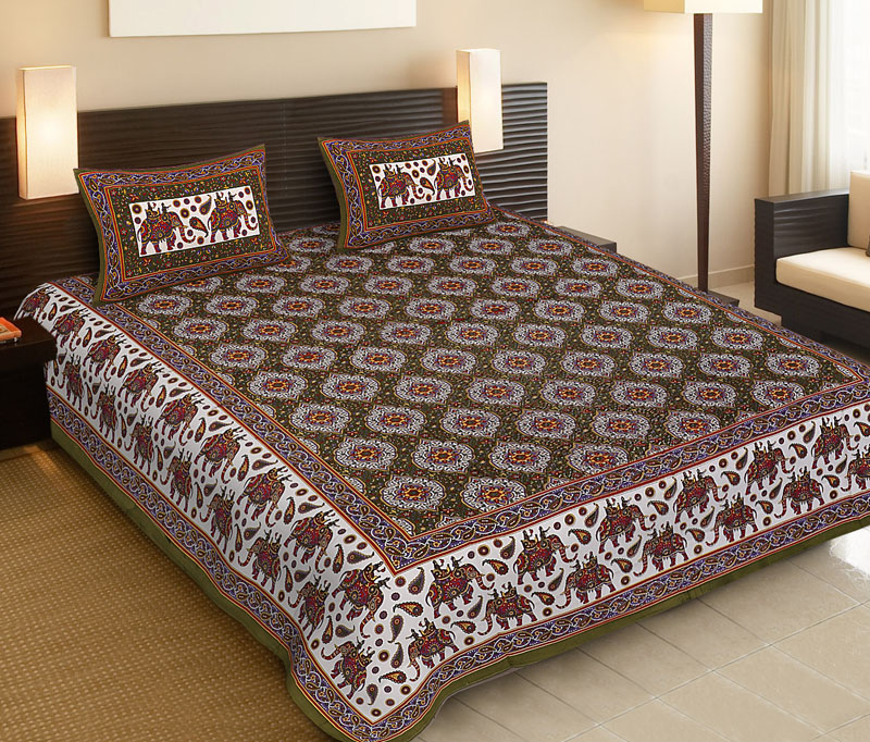 Red Green Cotton Jaipuri Bedsheet-535