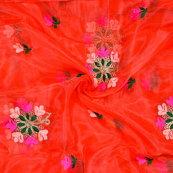 Red Green Flower Organza Embroidery Fabric-22194