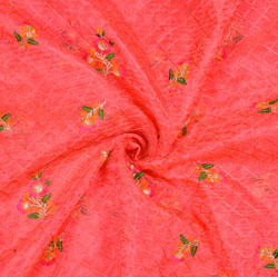 Red Green Flower Organza Embroidery Fabric-22231