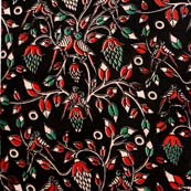 Red Green and Black Leaf with Birds Pattern Kalamkari Cotton Fabric