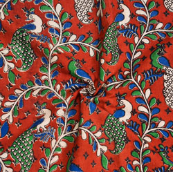 Red Green and Blue Floral Cotton Kalamkari Fabric-28038