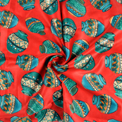 Red-Green and Orange Jam Cotton Silk Fabric-75074