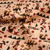 Red-Green and Peach Unique Pattern Kalamkari Manipuri Silk Fabric 7556