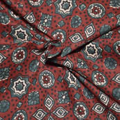 Red-Green and White Floral Design Ajrakh Block Fabric-14026