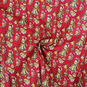 Red-Green and Yellow Cotton Kalamkari Fabric-10157
