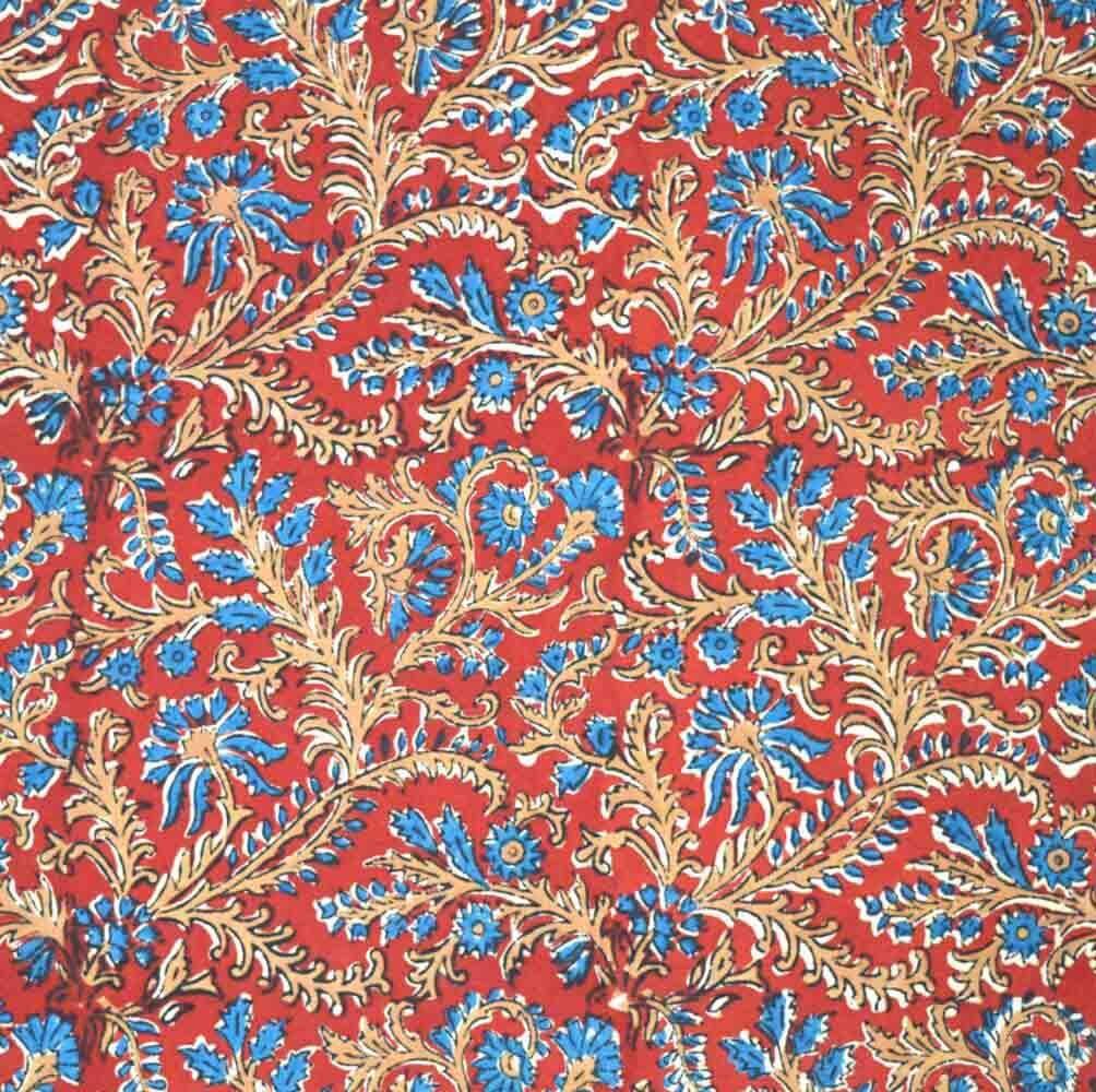 Red, Khaki and Blue kalamkari Pattern Cotton Fabric by the Yard