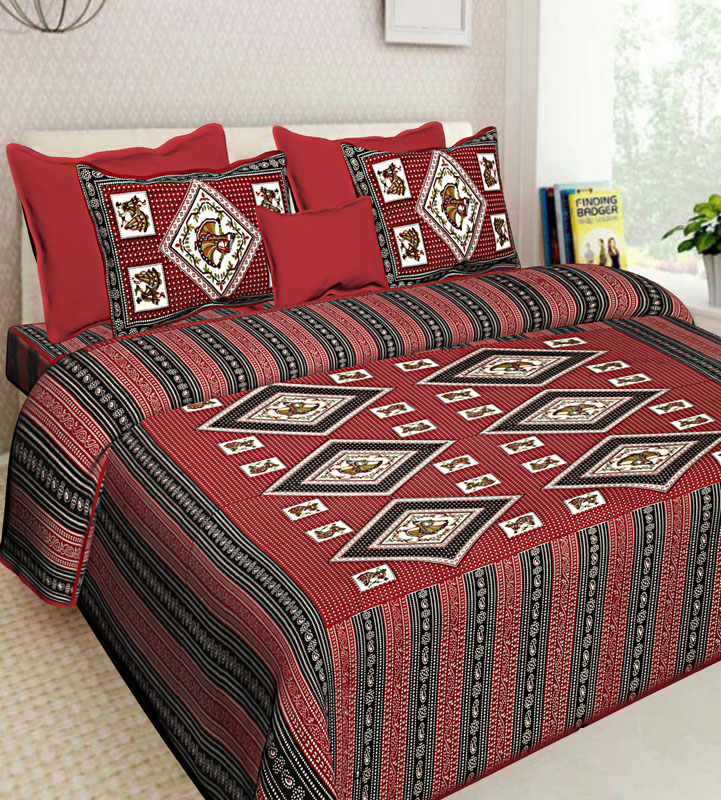 Red Maroon Cotton Jaipuri Bedsheet-581