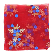Red Net Fabric With Golden and Blue Flower Embroidery -60823