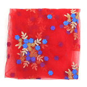 Red Net Fabric With Golden and Blue Flower Embroidery -60830
