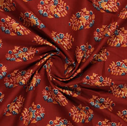 Red Orange Block Print Cotton Fabric-16061