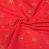 Red-Orange and Golden Square Pattern Brocade Silk Fabric-8056