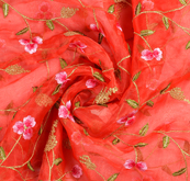 Red Organza Fabric With Golden and Pink Floral Embroidery-50076