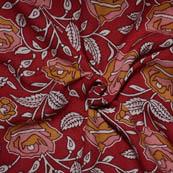 Red-Peach and Yellow Flower Design Kalamkari Rayon Fabric-15022
