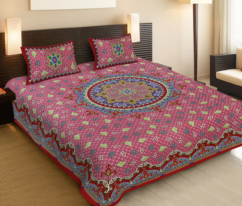 Red Pink Cotton Jaipuri Bedsheet-528