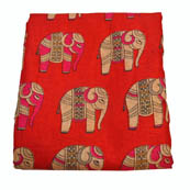 Red-Pink and Cream Elephant Design Kalamkari Manipuri Silk-16024