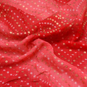 Red-Pink and Golden Bandhani Foil design Kota Doria Fabric-6022