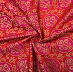 Red Pink and Golden Floral Brocade Silk Fabric-12197