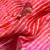 Red-Pink and Golden Leharia Cirlce Kota Doria Fabric-6034