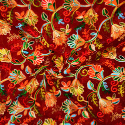 Red Pink and Green Multi Work Georgette Embroidery Fabric-19415