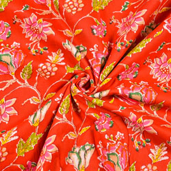 Red Pink and Yellow Floral Block Print Cotton Fabric-28498