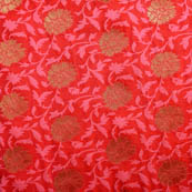 Red-Pink and golden silk brocade fabric-5038