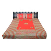 Red Print Cotton Double Bed Sheet -0RDU04R