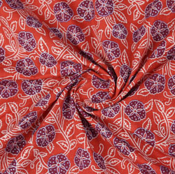 Red Purple Block Print Cotton Fabric-16028