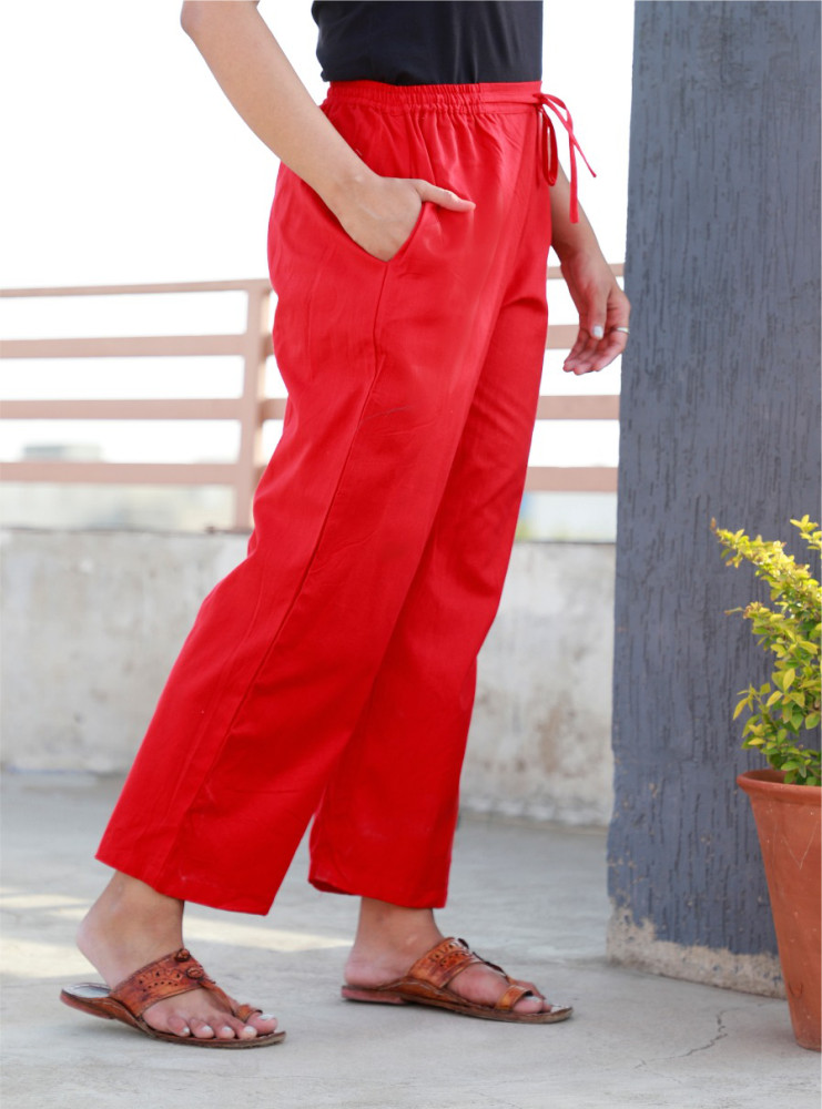 Red Rayon Women Pant-33235