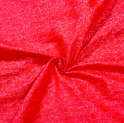 Red Red Floral Brocade Silk Fabric-12548