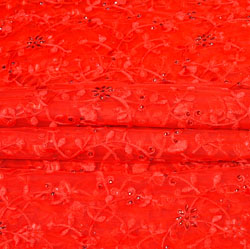 Red Red Floral Net Embroidery Fabric-19254