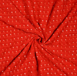 Red Silver Polka Georgette Embroidery Silk Fabric-18917
