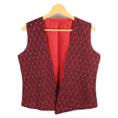 Red Sleeveless Ikat Cotton Koti Jacket-12234
