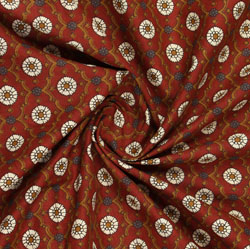 Red White Ajrakh Cotton Fabric-16060