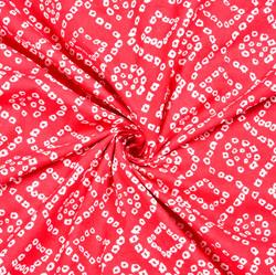 Red White Bandhej Block Print Cotton Fabric-28534