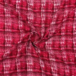 Red White Block Print Cotton Fabric-16089