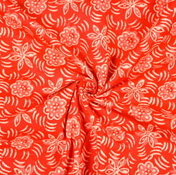 Red White Floral Block Print Cotton Fabric-28391