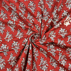 Red White Floral Block Print Cotton Fabric-28442