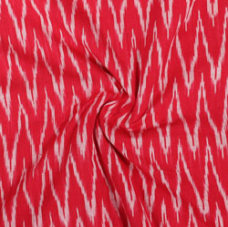 Red White Ikat Cotton Fabric-11030