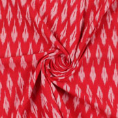 Red White Ikat Cotton Fabric-12193