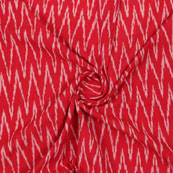 Red White Ikat Cotton Fabric-12334