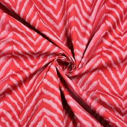 Red White Leheria Block Print Cotton Fabric-28532