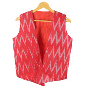 Red White Sleeveless Ikat Cotton koti jacket-12279