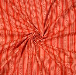 Red White Stripe Cotton Fabric-28585