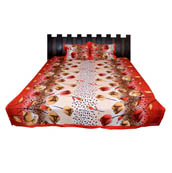 Red-White and Beige Flower Printed Cotton Double Bed Sheet-0G64