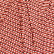 Red-White and Black Floral Pattern Block Print Cotton Slub Fabric-14335