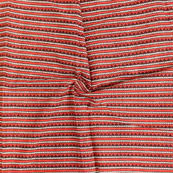 Red-White and Black Zig-Zag Block Print Cotton Fabric-14335