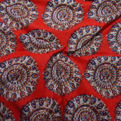 Red-White and Blue Circular Pattern Block Print Cotton Fabric-14195