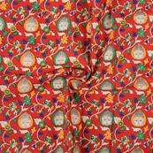 Red-White and Green Buddha Cotton Kalamkari Fabric-10137