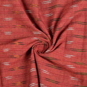 Red-White and Green Ikat Cotton Fabric-12142